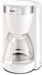 Tefal 特福 CM1801 Deflini Plus 玻璃咖啡机,带不锈钢元件,可制作10–15杯咖啡,1000W,白色