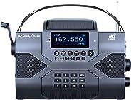 Kaito 應急收音機Voyager Max KA900 數碼太陽能動力曲柄發條 AM/FM/SW 和 NOAA 天氣立體聲接收器,藍牙,實時警報,MP3 播放器,錄音機和電話充電器,黑色KA900 標準