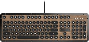 AZIO mk-retro-l-03-us 复古经典–USB 奢华复古后 LIT 机械键盘 棕色/灰色