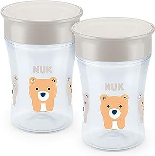NUK 魔术杯 - 2 件装 - 360 度边缘 - 密封硅胶盘 - 8 个月以上 - 不含双酚 A 米色