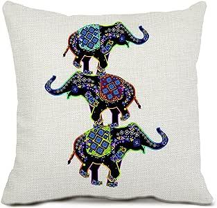 大象抱枕套装饰方形棉麻垫套枕套 45.72 X 45.72 厘米 Mcl_daxiang01_18_c5 18 * 18 A square