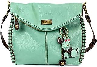 Chala Charming Teal 斜挎包,配有翻盖顶部和拉链或单肩手提包