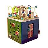 B.Toys 比乐 动物园活动木立方 多功能益智木制百宝箱玩具 轨道串珠 认识图形数字 中号动物园 早教 1岁+ BX1004Z