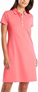 Nautica 诺帝卡女式经典短袖弹力棉 Polo 连衣裙 粉红色 Large