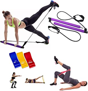 uneedthisnow 普拉提运动阻力带,瑜伽普拉提酒吧改革套装,便携式普拉提健身棒,家庭健身房普拉提带脚环,适合全身锻炼