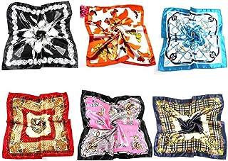 6 件时尚仿真丝绸方形围巾复古花卉图案多功能狂野围巾包腰带发饰适合女孩女士日常用品