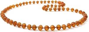 原波罗的海琥珀项链 - 成人尺寸 17.5-19.5 英寸 (45-50 cm) - 未抛光琥珀珠 - 精品琥珀色 干邑色 25.5 inches NBAR-1