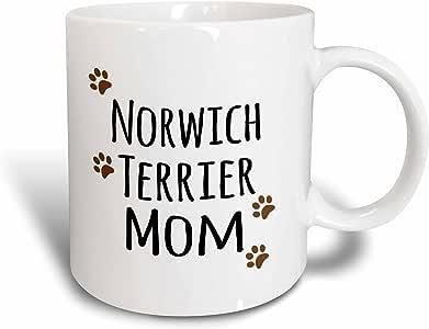 3drose inspirationz Store PET 设计–norwich terrier DOG Mom–doggie BY breed–泥泞棕色爪印–狗狗爱好者宠物主人 MAMA LOVE–马克杯 红/白色 11 oz