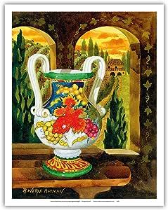 """太平洋岛屿艺术花瓶带景图 - 意大利托斯卡尼 - 意大利香草 - 来自Robin Wethe Altman 原创水彩画 - 精美艺术印刷品 11"""" x 14"""" APBRA18"""
