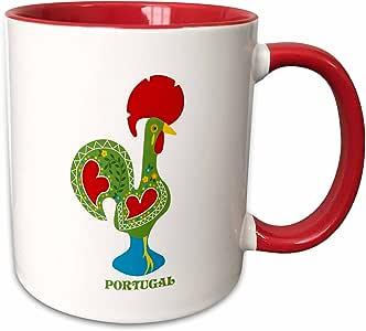 3dRose 160665_5 绿色葡萄牙雄鸡或Galo De Barceló 双色马克杯,311 盎司,红色