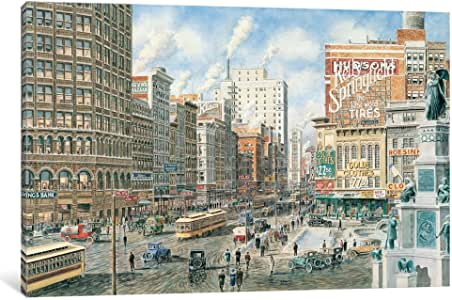 iCanvasART 9488-1PC3 Detroit Looking North on Woodward Canvas Print by Stanton Manolakas, 0.75 by 8 by 12-Inch