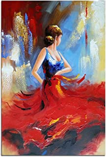 Wieco Art Flying Skirt Modern Artwork Abstract Dancing People Oil Paintings on Canvas Wall Art for Home Decorations Wall D...