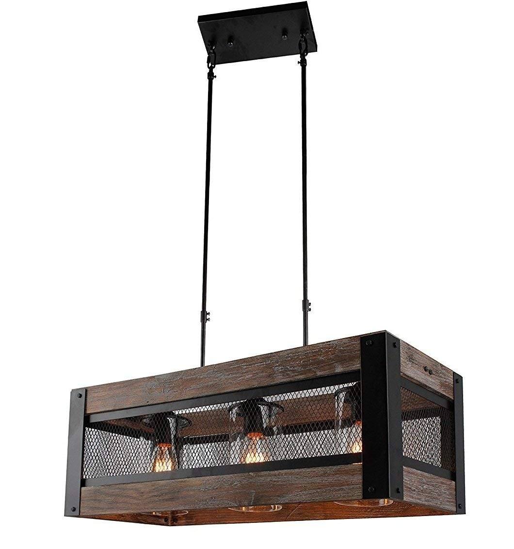 解构金属和木材厨房岛照明枝形吊灯串吊灯网绳灯复古工业质朴天花板灯笼状灯 24 Inches Iron Frame /3 Lights DM_C1201_5