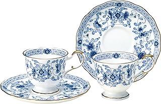 Narumi 鸣海 Milano系列 茶杯茶碟套装 蓝色 200cc 两组 咖啡 日本制 9682-20515