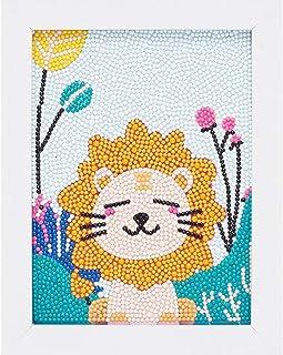 5D 儿童钻石绘画套装,钻石Dotz 套装,带框架,全钻画数字套件,适合儿童初学者礼物 7X9 英寸(Little Lion)