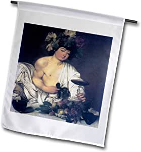 BLN 什锦 WORKS OF FINE ART 系列 – THE YOUNG bacchus 来自 CARAVAGGIO – 旗帜 12 x 18 inch Garden Flag