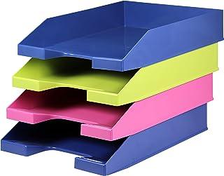 4 x A4 蓝色天使可堆叠字母托盘 - 1 x 浅*和玫瑰色和 2 x 蓝色