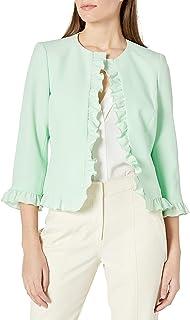 Kasper 女式 3/4 袖弹力绉纱开襟夹克,带褶边