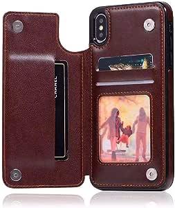适用于 iPhone Xs Max 钱包手机壳,Creck 高级 PU 皮革手机套*磁带 3 个卡槽,适用于 iPhone Xs Max 6.5 英寸 棕色