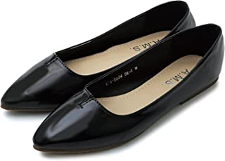 [AMES] 女士鞋 浅口鞋 平底鞋 女士 上班 走路舒适 低跟 黑色 银色 米色 4种颜色 女士