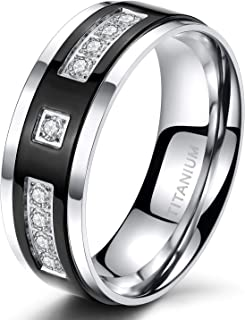 TIGRADE 6 毫米 8 毫米黑色钛永恒戒指方晶锆石婚戒男女适用