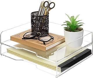 MyGift 高级透明亚克力堆叠桌面文件托盘/文件文件夹收纳盒,2 层套装