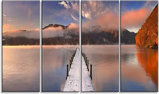 "Designart Jetty in Lake Japan - 海景摄影金属墙艺术 - MT6429-48x28-4 面板 蓝色 48x28"" - 4 Equal Panels MT6429-271"