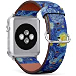 S 型 iWatch 皮革表带印花腕带,适用于 Apple Watch 4/3/2/1 Sport Series (42mm) - 发光月亮和星夜抽象背景