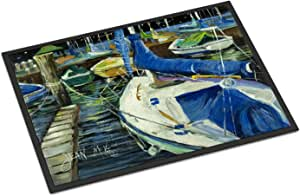 "Caroline's Treasures Night on the Docks Sailboat Indoor or Outdoor Mat, 24"" x 36"", Multicolor"