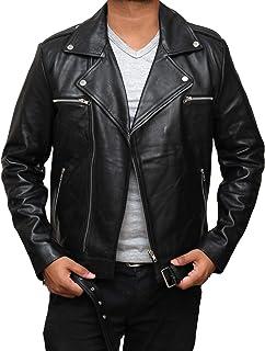 摩托车男式皮夹克 - 正宗小羊皮摩托车黑色皮夹克 男式