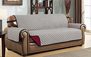 Le Benton 双面沙发套,绗缝宠物沙发保护器,优质沙发套 Grey/Burgundy Oversized: Sofa lbrsc