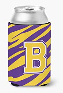 Caroline's Treasures CJ1022-C-BOTTLE Tiger Stripe-Purple Gold Letter C Initial Longneck Beer Koozie Zipper Hugger, Multicolor