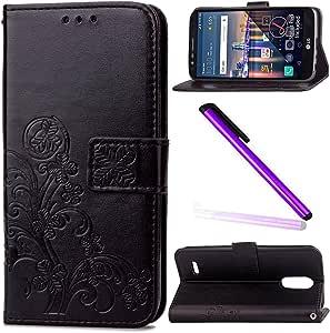 LG Stylus 3 LG G Stylo 3 LS777 手机壳 EMAXELER 时尚钱包手机壳带支架翻盖手机套信用卡插槽现金袋 PU 皮革翻盖钱包带支架 适用于 LG Stylus 3 LS777 Clover: Black