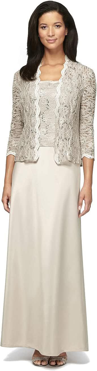 ALEX evenings 女式无袖连衣裙和配套夹克两件套套装