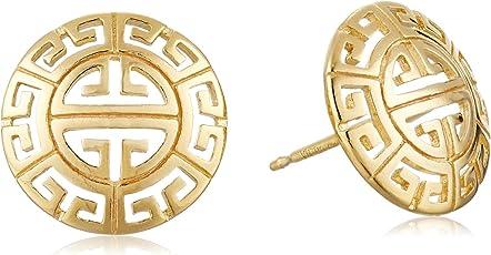 Amazon Collection 美国亚马逊自有品牌 18k 黄色镀金希腊回纹圆形蘑菇状耳饰 女士耳钉