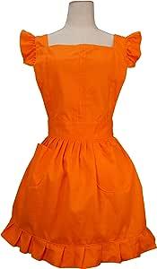 LilMents 复古可调节荷叶边围裙厨房烹饪烘焙清洁棉服装 橙色 7Q1Q