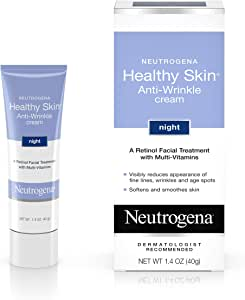 Neutrogena 露得清 阻止皱纹视黄醇乳霜,含维生素E和维生素B5,夜间保湿,含视黄醇,维生素E,维生素B5,甘油,1.4盎司,40克