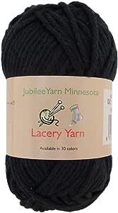 笨重蕾丝纱线适用于工艺品、毛衣、毛毯 100g - 2 或 4 层 - * 纯棉 Color 001 - Witching Hour Black 2 Skeins 6955114967616a