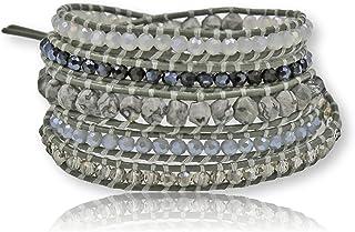 MGR MY GEMS ROCK!多层手工混合石或淡水养殖珍珠串珠真皮波西米亚风格皮革缠绕手链超缠绕手链 35 英寸长(约 88.9 厘米),*多 5 个包裹。