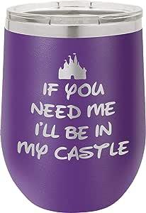 If You Need Me I'll Be In My Castle   340.19 克不锈钢不锈钢无钢*杯带盖 双层真空保温   女式华丽礼物 紫色