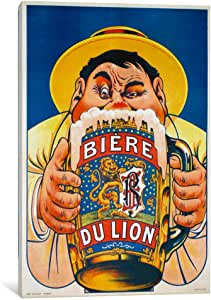 iCanvasART VAC746-1PC6-18x12 Biere du Lion Canvas Print by Vintage Apple Collection, 18 by 12-Inch, 1.5-Inch Deep