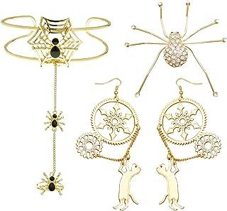 RechicGu 3 件套蜘蛛网猫装备万圣节服装首饰套装手挽手链手镯戒指,胸针和耳环婚礼套装