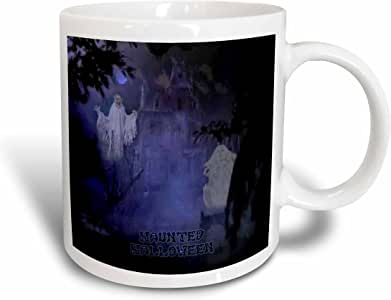3dRose Haunted Halloween House and Ghost Ceramic Mug, 15-Ounce