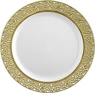 Posh 蕾丝系列 10 个装中国外观 18.42 cm 白色/金色塑料沙拉/Appetizer 盘子,花式一次性餐具 白色/金色 14185508
