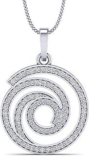Fehu Jewel 3/8 克拉天然钻石镀金银钻石吊坠