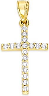 10k 纯金十字架吊坠 镶嵌方晶锆石,宗教珠宝适合圣诞节和天主教宗教洗礼和送礼