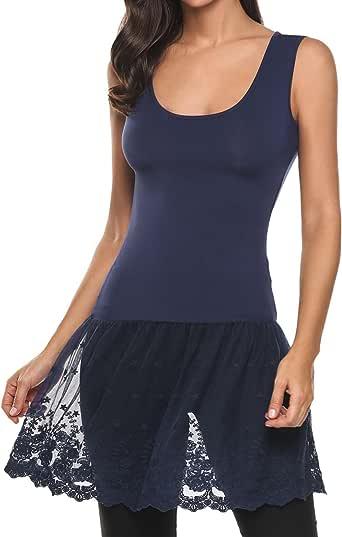 Gumod 女式蕾丝上衣加大码休闲基本背心蕾丝加长下装 P-navy Blue XX-Large