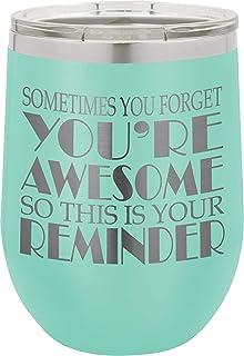 SDF 杯 12 盎司(约 354.9 毫升)带盖和吸管的酒杯 - 绝缘酒杯带有趣味标语 - 不锈钢无柄酒杯 - 送给女士妈妈奶奶男士爸爸妻子 BFF 的礼物 蓝*
