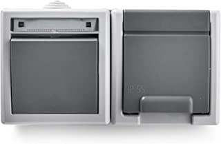 Famatel 19081 开关开关 + 插座底座适用于室外区域。 颜色:灰色。
