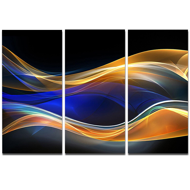 designart 3d 金色蓝色波浪设计抽象数字艺术金属墙体图片
